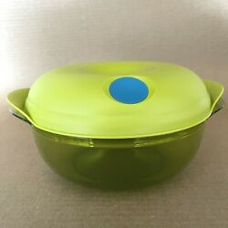 Tupperware Heat N Serve Round Bowl Microwave Container 6.25 Cup Green 5411 New