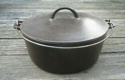 Pre Griswold Erie No.10 Flat Top Cast Iron Dutch Oven With Lid 835/839