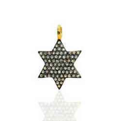 Star Charm Pave Diamond Pendant 925 Sterling Silver Jewelry Christmas Gift Jp