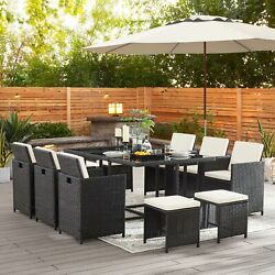 Modern Outdoor Patio Dining Sets Space Saving Rattan Chairs Table Set For Garden
