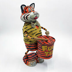 Louis Marx Funny Tiger Drummer 6.5 Tin Litho Wind-up Toy Vintage And Rare