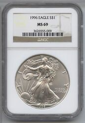 1996 American Eagle 1 Oz Silver Dollar Ngc Ms 69 Certified Us Mint Ounce - Ax707