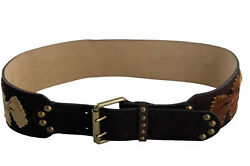 Besty Johnson Bb329 Bow Studded Brass Buckle Accents Leather Belt Small