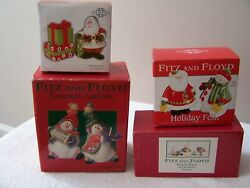 Lot Of 4 Sets Fitz And Floyd Snowman, Santa, Holiday S And P And Figurines - New