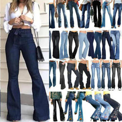 Women Vintage Style Flared Jeans Pants Casual Denim Bell Bootcut Trouser Bottom.