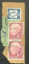 1954federal Republic Of Germany 3 Deutschmark Lilac Pair Of Stamps On Cover