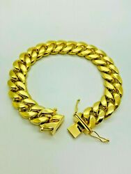 9ct Yellow Solid Gold Cuban Style Bracelet Andndash 13.5mm - 8 Andfrac12 Cheapest On Ebay