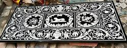 5'x3' Antique Black Marble Coffee Dining Table Top Inlay Pietra Dura Marquetry
