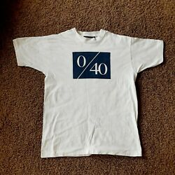 Vintage MADE IN USA Fruit Of The Loom Love 40 0 40 Tennis Shirt White Blue XL
