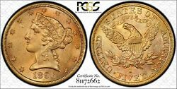 1896-s 5 Dollar Gold Half Eagle. Pcgs Ms62. Scarce S Mint Coin. Great Color.
