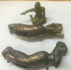 3-brass Statues, 2-dutch And One Brass Top Of A Knight, Great Condition