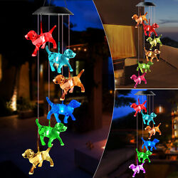Crystal Dog Solar Wind Chimes Outdoor Large Led Color Changing Garden Home Decor