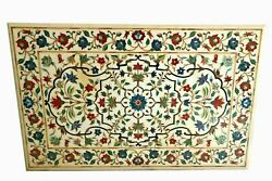4'x2.5' White Marble Table Top Coffee Center Pietra Dura Inlay Antique H1