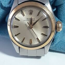 Vintage Rolex Oyster Perpetual Ladies Two Tone 26 Mm Watch 6619 Circa 1966