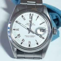 Rolex Date 34 Mm Steel White Roman Automatic Oyster Watch 1500 Circa 1979