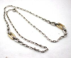 David Yurman Wellesley Long 36 Link Necklace Sterling Silver And 18k Yellow Gold