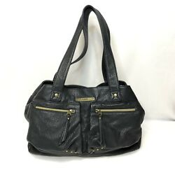Vans Off The Wall Pebbled Black Faux Leather Purse Hand Bag Hobo Gold Accent $24.99