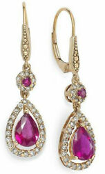 1.00ct Natural Diamond 14k Hallmark Solid Yellow Gold Ruby Danglers Earrings A29