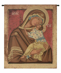 Madonna 15th Century Religious Russian Icon Italian Tapestry Wall Art Hanging