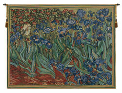 Les Iris By Vincent Van Gogh Reproduction Belgian Tapestry Wall Art Hanging New