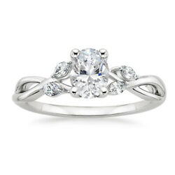 Solid 14k White Gold 0.80 Ct Oval Cut Real Diamond Anniversary Ring Size 6 7 8 9
