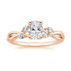 Wonderful 0.80 Ct Real Diamond Anniversary Ring Solid 14k Rose Gold Size 5 6 7 8