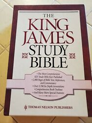 King James Study Bible Thomas Nelson - Burgundy Bonded Leather, Red Letter, New