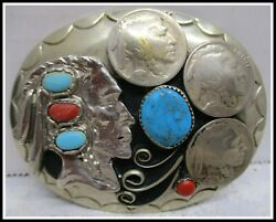 Beautiful Turquoise Indian Chief And Indian Head Pennies Belt Buckle Usa Made