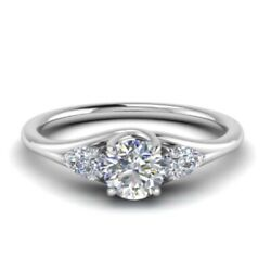 0.90 Carat 3-stone Real Diamond Engagement Ring Solide 950 Platine - Taille 6 7