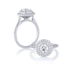 Solide 950 Platine 1.25 Ct Coupe Ronde Naturel Glamour Diamond Ring Size 6 7 8 9