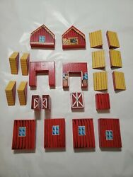 22pc Vintage Red Barn Farm Miniature Dollhouse Thick Wood Child's Toy Windows