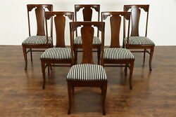 Set Of 6 Oak Antique Craftsman Farmhouse Dining Chairs New Seats Sikes 36832