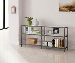 Coaster Home Furnishings Contemporary Black Nickel Two-tier Double Bookcase