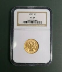 1893 Gold Half Eagle - Five Dollar - 5 Certified Ngc Ms64 A Rare Coin Wow