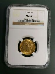 1906 Gold Half Eagle - Five Dollar - 5 Certified Ngc Ms66 A Rare Coin Wow