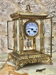 C1870 Vintage Antique French H.p.and.co Carved Brass Bronze Crystal Strike Clock
