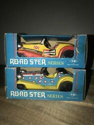T.n Lever Action Mg Roadster Series Tin Toy Model Vintage Cars Lot Of 2 W Boxes