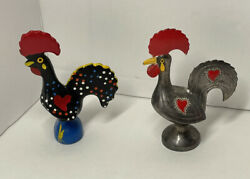 Adorable lot of two small figurines Portuguese Roosters one pottery one metal