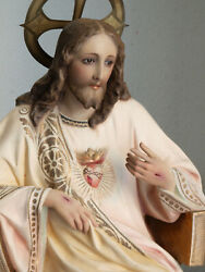 Sacred Heart Of Jesus Christ Statue Sitting Chair Statue 21.8 In Spain Antique