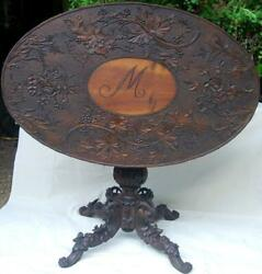 Carved Wood Antique Wine Table Germany Tilt Top Oval Ram's Heads