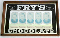 Fry's Chocolate Advertising Antique Reverse Painted Mirror Sign