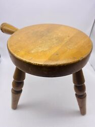 Vintage Authentic Furniture Products 3 Leg Wood Farmhouse Milking Stool W Handle