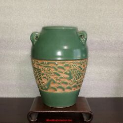 Vietnamese Bien Hoa Thanh Le Ceramic Pottery Vase With Fishing Boat Carving