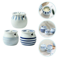 3pcs Seasoning Boxes Ceramic Jars Spices Canisters For Home Hotel Kitchen