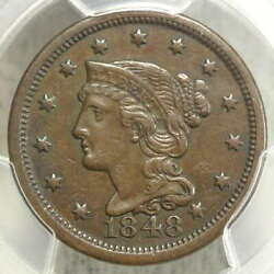 1848 Braided Hair Large Cent Extremely Fine Pcgs Xf-40 Problem Free Original