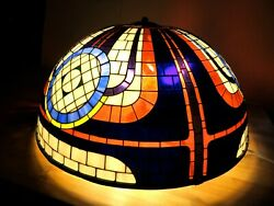 Stained Glass Style Dome Lamp Extra Large 31 Vintage Mid-century Modern