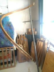 Vintage Modern All Wood Spiral Staircase / Apart And Install Ready Unrestored