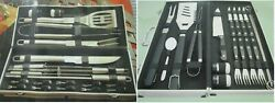 Raymour Flanigan Bbq Tools Barbecue Grill Tool Set Kit Stainless Steel Case Box