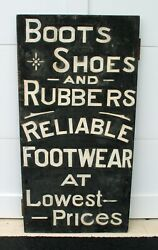 Antique Folk Art Boots, Shoes And Rubbers Trade Sign Maine, Rustic, Tramp Art Camp
