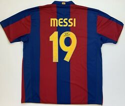 Messi Autographed 2007 2008 Barcelona Jersey 19 With Signed Nike Vintage Rare